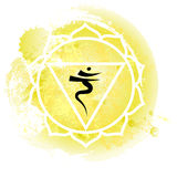 Third chakra manipura over yellow watercolor background. Yoga icon, healthy lifestyle concept. Vector illustration Stock Images