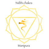 Third chakra manipura over yellow watercolor background. Yoga icon, healthy lifestyle concept. Vector illustration Stock Photo