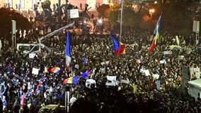 Third Day Of Protest In University Square Against Corruption And Romanian Government. BUCHAREST, ROMANIA - NOVEMBER 05, 2015: Third Day Of Protest In University stock footage