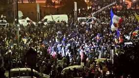 Third Day Of Protest In University Square Against Corruption And Romanian Government. BUCHAREST, ROMANIA - NOVEMBER 05, 2015: Third Day Of Protest In University stock video