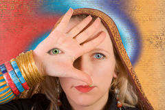 Third eye. A woman with a third eye on her hand - symbol of higher consciousness stock photos