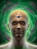Third eye. Male head with an open third eye in the middle of its forehead. Digital illustration Stock Images