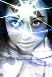 Third Eye. An abstract montage of a beautiful  woman with a starburst coming from her forehead Stock Image