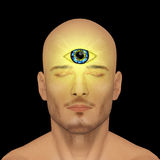 Third eye, clairvoyant. Illustration of the young man stock illustration
