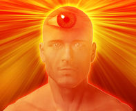 Third eye Man. Man with third eye, psychic supernatural senses Stock Images