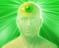 Third eye Man. Man with third eye, psychic supernatural senses Royalty Free Stock Image