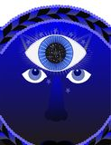 Third eye, psychic illustration. Meditation , the third eye is part of the Buddhists beliefs, in Chakra Royalty Free Stock Images