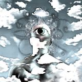 Third eye. Surreal painting. Man with eye on a back of the head and storm cloud above. Background of clouds royalty free illustration