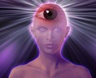 Third eye woman. Woman with third eye, psychic supernatural senses Royalty Free Stock Images