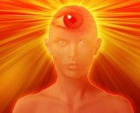 Third eye woman. Woman with third eye, psychic supernatural senses Royalty Free Stock Image