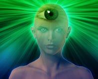 Third eye woman. Woman with third eye, psychic supernatural senses Stock Image