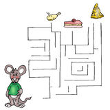 The third game, the labyrinth of the mouse. Illustration is a game for children that is helping Royalty Free Stock Photos