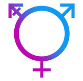 Third Gender Blue Pink Circle. A circle shape with Male, Female and Third Gender symbol royalty free illustration