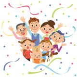 Third generation good friend family and paper streamer Stock Photography