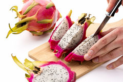 Third And Last Cut Through A Halved Dragonfruit Royalty Free Stock Photography