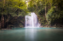 The third level of Erawan Fall. Thailand Stock Photo