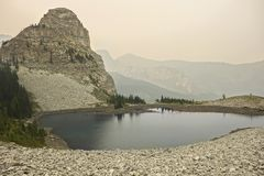 Third Memorial Lake Summer Wildfires Smoke Kananaskis Country Canada stock photos