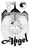 Third millennium angel. Black and white illustration for t-shirt design. The angel wears a pair of jeans and, behind him, there are three modern buildings. You Royalty Free Stock Photography