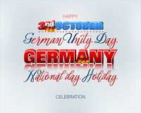 Third of October, Day of German Unity, celebration. Holiday design, background with handwriting, 3d texts and national flag colors for third of October, Day of royalty free illustration
