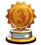 Third place bronze award, number three, clipping mask Royalty Free Stock Photo