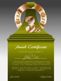 Third place bronze prize award certificate. With green ribbon Royalty Free Stock Photo