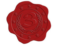 Third Place Red Wax Seal Royalty Free Stock Photos