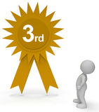 Third Place Rosette Means Prestige Trophy And Success 3d Rendering Royalty Free Stock Photography