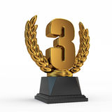 Third place trophy cup. On white background Royalty Free Stock Images
