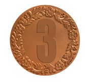 Medal for awarding. The third place winners medal as success achievement concept Stock Images