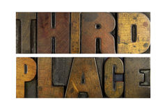 Third Place. The words THIRD PLACE written in vintage letterpress type Royalty Free Stock Photos