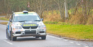 Third placed car in Snowman Rally 2012. An image of the car of Dougall Brown and Lewis Rochford  which came in third place in its class in the Snowman Rally on Royalty Free Stock Photos