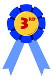 Third Placing Ribbon. Blue ribbon for third place in competitions Royalty Free Stock Images