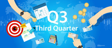 Third quarter business report target corporate financial result Q3. Vector Royalty Free Stock Photos