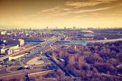 Third Ring Road, the river Moscow, sports complex Luzhniki Royalty Free Stock Images