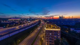 The Third Ring Road after sunset day to night timelapse aerial view from rooftop. Moscow, Russia. The Third Ring Road traffic after sunset day to night stock video