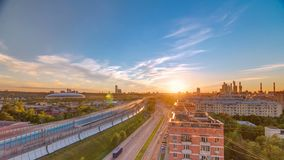 The Third Ring Road at sunset timelapse aerial view from rooftop. Moscow, Russia. The Third Ring Road traffic at sunset timelapse aerial view from rooftop stock footage