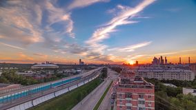 The Third Ring Road at sunset timelapse aerial view from rooftop. Moscow, Russia. The Third Ring Road traffic at sunset timelapse aerial view from rooftop stock video footage