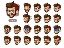 The third set of bearded hipster facial emotions with glasses Stock Photography