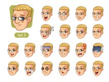 The third set of male facial emotions with blonde hair Royalty Free Stock Image