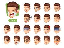 The third set of male facial emotions with red hair royalty free stock image