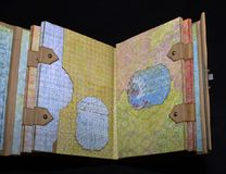 Third spread of a small old-looking photoalbum.  Stock Images