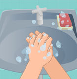 The third stage of washing hands. The third stage is washing hands rub-rub both your palms back hand turns royalty free illustration