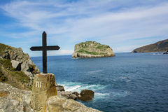 Third station of the Cross. The lonely island view from third station of the track to the chapel on the top of the rock Royalty Free Stock Photography