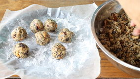 Third Step Homemade Cereal Cookies Ball stock video footage