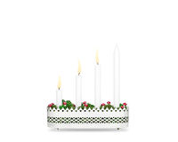 Third Sunday of Advent candlestick isolated on white background Royalty Free Stock Image