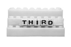 Third text on white steps Royalty Free Stock Image