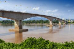 Third Thai–Lao Friendship Bridge over Mekong River connecting Thailand with Laos. The Third Thai–Lao Friendship Bridge over the Mekong River connecting Royalty Free Stock Photo
