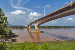 Third Thai–Lao Friendship Bridge over Mekong River connecting Thailand with Laos. The Third Thai–Lao Friendship Bridge over the Mekong River connecting Royalty Free Stock Images