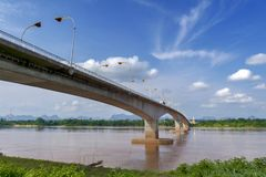 Third Thai–Lao Friendship Bridge over Mekong River connecting Thailand with Laos. The Third Thai–Lao Friendship Bridge over the Mekong River connecting Royalty Free Stock Photography