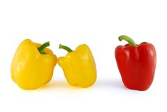 Third is unnecessary. Two yellow peppers with one red stock image